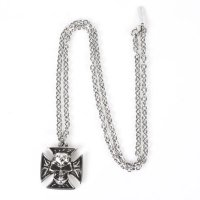 NEW ROCK SKULL CROSS NECKLACE 53713-N-CAD